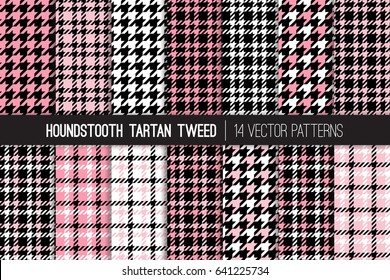 French Pink, Black and White Houndstooth Tartan Tweed Vector Patterns. Girly Fashion Textile Backgrounds. Set of Dogs-tooth Check Fabric Textures. Pattern Tile Swatches Included.