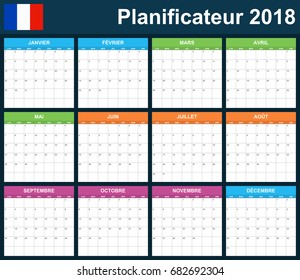 French Planner blank for 2018. Scheduler, agenda or diary template. Week starts on Monday