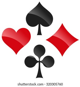 french playing cards symbols hearts, tiles, clovers and pikes with reflection