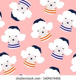 French poodle dog. Little puppy with barret hat and striped shirt. Cute funny character. Hand drawn vector seamless pattern. Colored trendy illustration. Flat design. Pink background