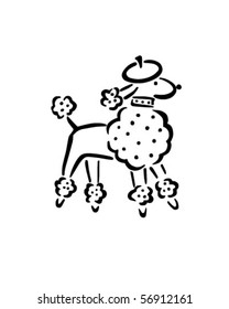 French Poodle - Retro Clip Art