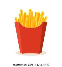 French potato pack box. Cartoon fastfood fry potato isolated illustration.