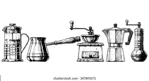 French press, Cezve,  old fashioned manual burr mill coffee grinder, moka pot, turkish