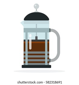 French press coffee maker vector flat material design isolated on white