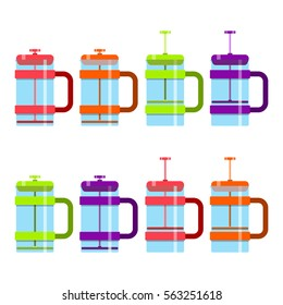 french press,coffeemaker,preparation of coffee,vector image, flat design