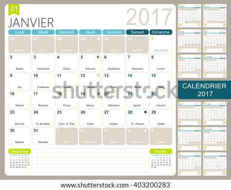 French Printable Monthly Calendar Template Set Image Vectorielle De