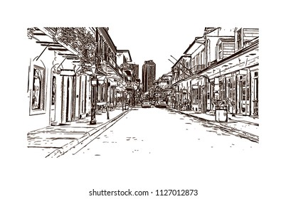 The French Quarter, Historic District, is the oldest section of the City of New Orleans. Hand drawn sketch illustration in vector.