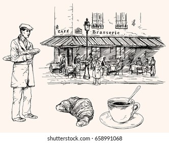 French restaurant, tables and chairs on the street. Coffee and croissant and man holding baguette. Hand drawn vector set.