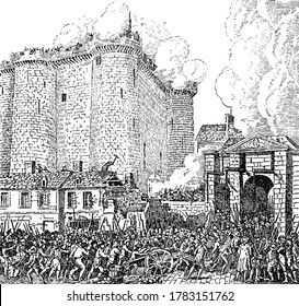 French revolution where prisoners of Bastille were released, vintage line drawing or engraving illustration.