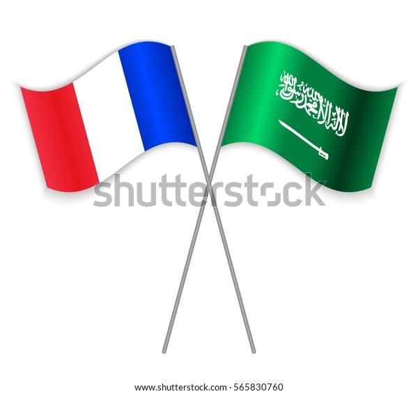 French Saudi Arabian Crossed Flags France Stock Vector