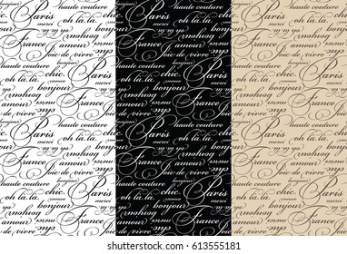 French Script Words Seamless Vector Pattern Set