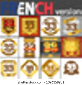 French set of number thirty-three years (33 years) celebration design. Anniversary number template elements for your birthday party. Translated from the French - congratulation, years, anniversary