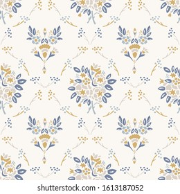French shabby chic damask vector texture background. Dainty flower bouquet off white seamless pattern. Hand drawn floral interior home decor wallpaper. Classic cottage farmhouse style all over print