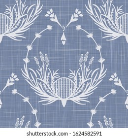 French shabby chic lavender damask vector texture background. Antique white yellow blue seamless pattern. Hand drawn floral interior wallpaper home decor swatch. Classic baroque herbal all over print