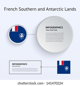 French Southern and Antarctic Lands Country Set of Banners on gray background for Infographic and Presentation. Vector illustration.