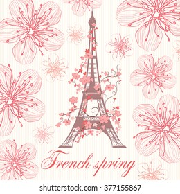 Фотообои french spring vector background with Eiffel tower and flowers