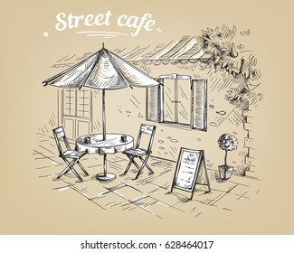French Street Cafe, Hand drawn Vector Illustration