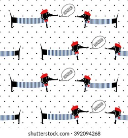 French style dogs saying bonjour seamless pattern on polka dots background. Cute cartoon parisian dachshund vector illustration. French style dressed dog with red beret and striped frock.