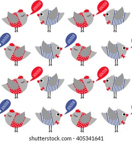 French style dressed birds saying bonjour (hello) seamless pattern on white background. Cute cartoon girl and boy birds vector illustration. Sparrows with red bow tie, beret, red dress and striped frock.