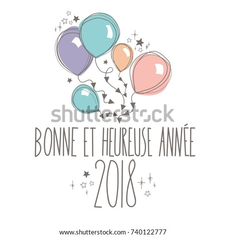 french sweet happy new year card full vector