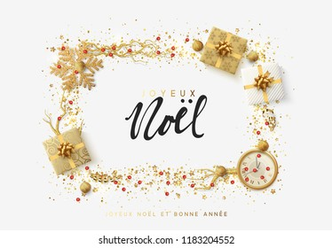 French text Joyeux Noel. Christmas bright background with golden Xmas decorations. Merry christmas greeting card. Glitter gold composition. Happy New Year. Elegant Holiday Frame