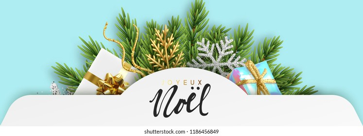 French text Joyeux Noel. Christmas design banners. Xmas decorations pine tree branches with silver snowflakes, colorful realistic gift boxes