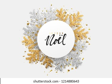French text Joyeux Noel. Christmas background with Shining gold Snowflakes. Merry christmas greeting card, web banner, poster vector Illustration. Holiday Xmas and New Year
