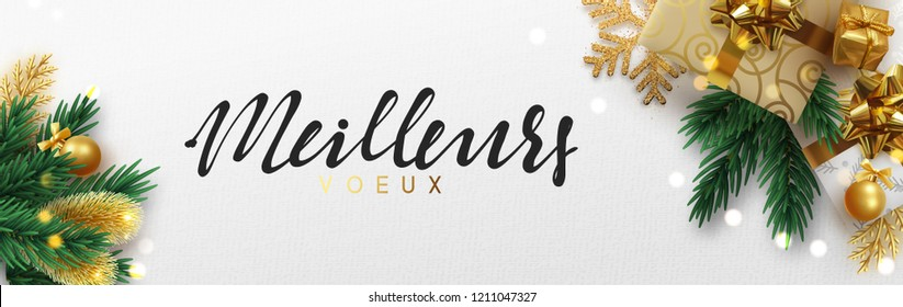 French text meilleurs voeux (Translation best wishes) Christmas banner, Xmas sparkling lights garland with gifts box and golden tinsel. Horizontal christmas posters, cards, headers, website.