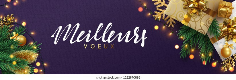 French text meilleurs voeux (Translation best wishes) Christmas banner, Xmas sparkling lights garland with gifts box and golden tinsel. Horizontal christmas posters, greeting cards, headers, website.