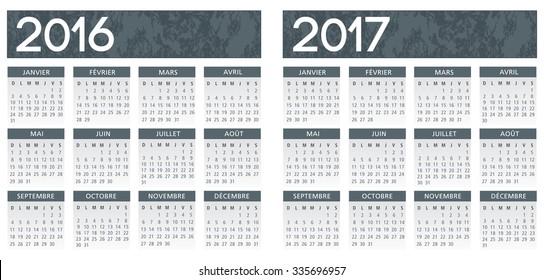 French textured grey calendar vector 2016-2017