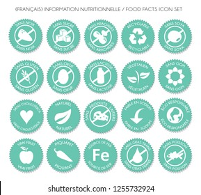 French turquoise Nutrition food facts badge label icon set vector