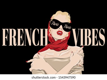 French vibes. Paris.  Vector hand drawn illustration of  blonde girl in shawl and glasses . Creative artwork. Template for card, poster, banner, print for t-shirt, pin, badge, patch.