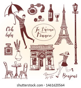 "French vintage set with lettering . Translation: ""Ooh lala. I love you France. Hello."""