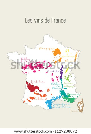 Map Of France In French Language.French Wine Region Map Map France Stock Vector Royalty Free