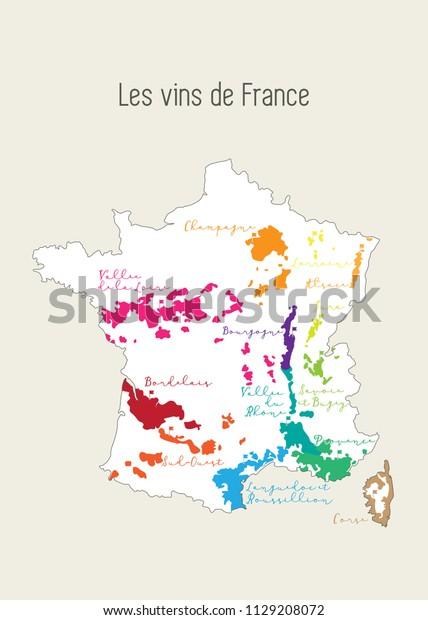 Image Vectorielle De Stock De Carte De La Region Viticole Francaise 1129208072