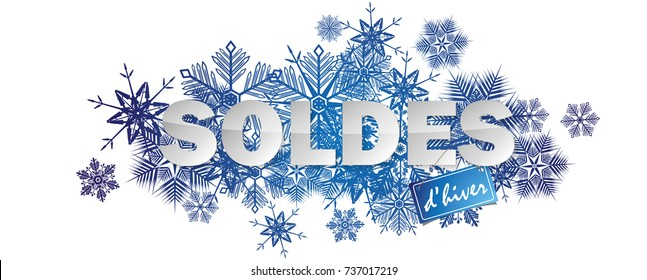French winter sales banner full vector elements