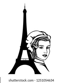 french woman chef portrait - beautiful female cook and eiffel tower silhouette black and white vector design