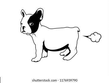 Frenchie with a little fart. Cute French Bulldog logo symbol for your variety design artworks. For T-shirt screen, printing card, branding, etc.