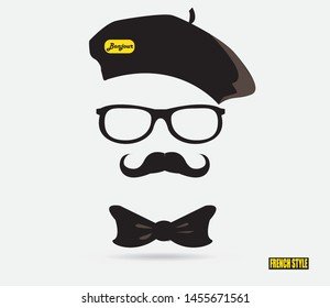 Frenchman in beret glasses with a mustache and bow tie, mustache man icon, isolated object on white background. Vector graphics