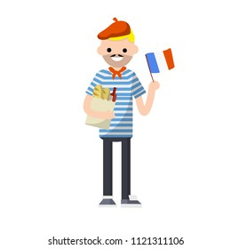 Frenchman in striped clothes with a bag of food-baguette and wine and the flag of France in his hand. European typical man - Cartoon flat illustration