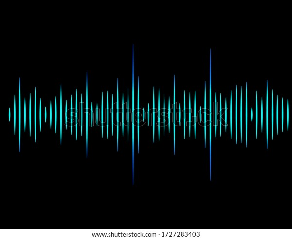 Frequency of the blue sound wave on a black background. Neon. Music waves. Stock vector illustration.