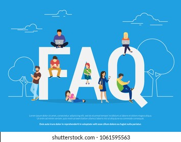 Frequently asked questions concept illustration of young people standing near letters and using smart phone, laptop and digital tablet. Flat women and men with letters symbols faq on blue background