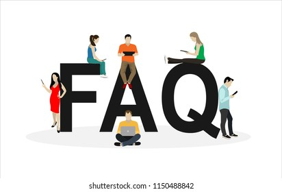 Frequently asked questions concept illustration of young people standing near letters and using smart phone, laptop and digital tablet. Flat women and men with letters symbols faq on white background