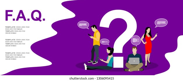 Frequently asked questions concept illustration of young people standing near letters and using smart phone, laptop and digital tablet. Flat women and men with big question mark on purple background