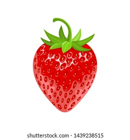 Fresh 3d red ripe strawberry isolated on white background. Realistic sweet food. Organic fruit. Cartoon style. Vector illustration for any design.
