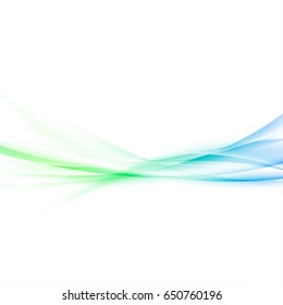 Fresh abstract spring smooth waves background. Bright gradient smoke swoosh elegant soft green and blue gradient light lines border over white layout. Vector illustration