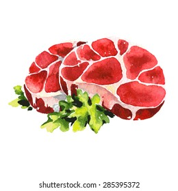 Fresh appetizing meat pork beef steaks chop meat, a piece of meat cuts vector Watercolor hand drawn illustration food isolated on white background