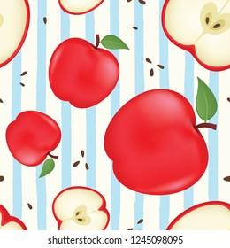 Fresh apple background. Seamless vector pattern with apple. Vector apple seamless pattern