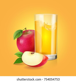 Fresh apple juice or soda drink in realistic transparent glass and red apple slice vector