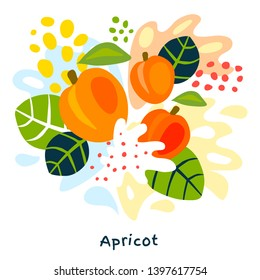 Fresh apricot berry berries fruits juice splash organic food juicy apricots splatter on abstract background vector hand drawn illustrations